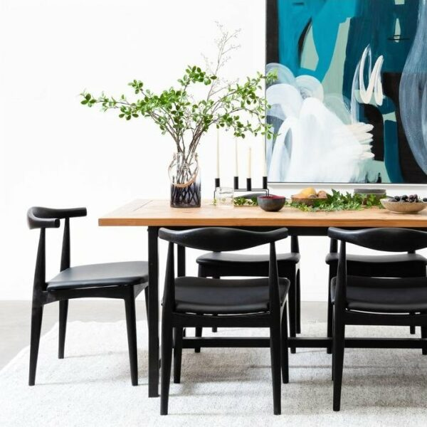 ByDezign Elbow Chair Replica - Black in Dining Setting