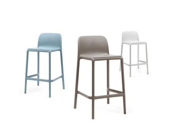 NARDI Faro Breakfast Bar Stools in Blue, Taupe and White