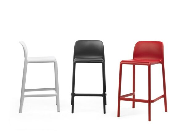 NARDI Faro Breakfast Bar Stools in White, Charcoal and Red