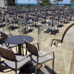 Bora Arm Chairs in Taupe in amphitheatre