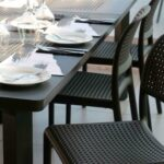Bora Bistro Chair in Charcoal with Levante Table