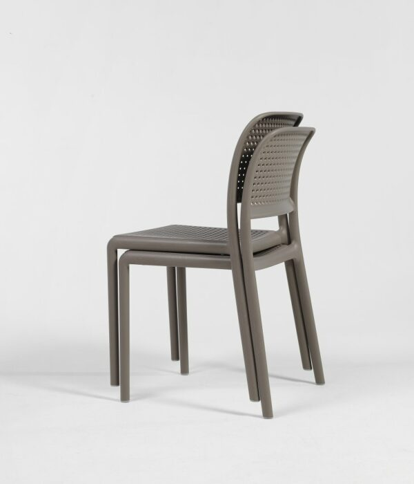 NARDI Bora Bistro Chairs in Taupe stacked together