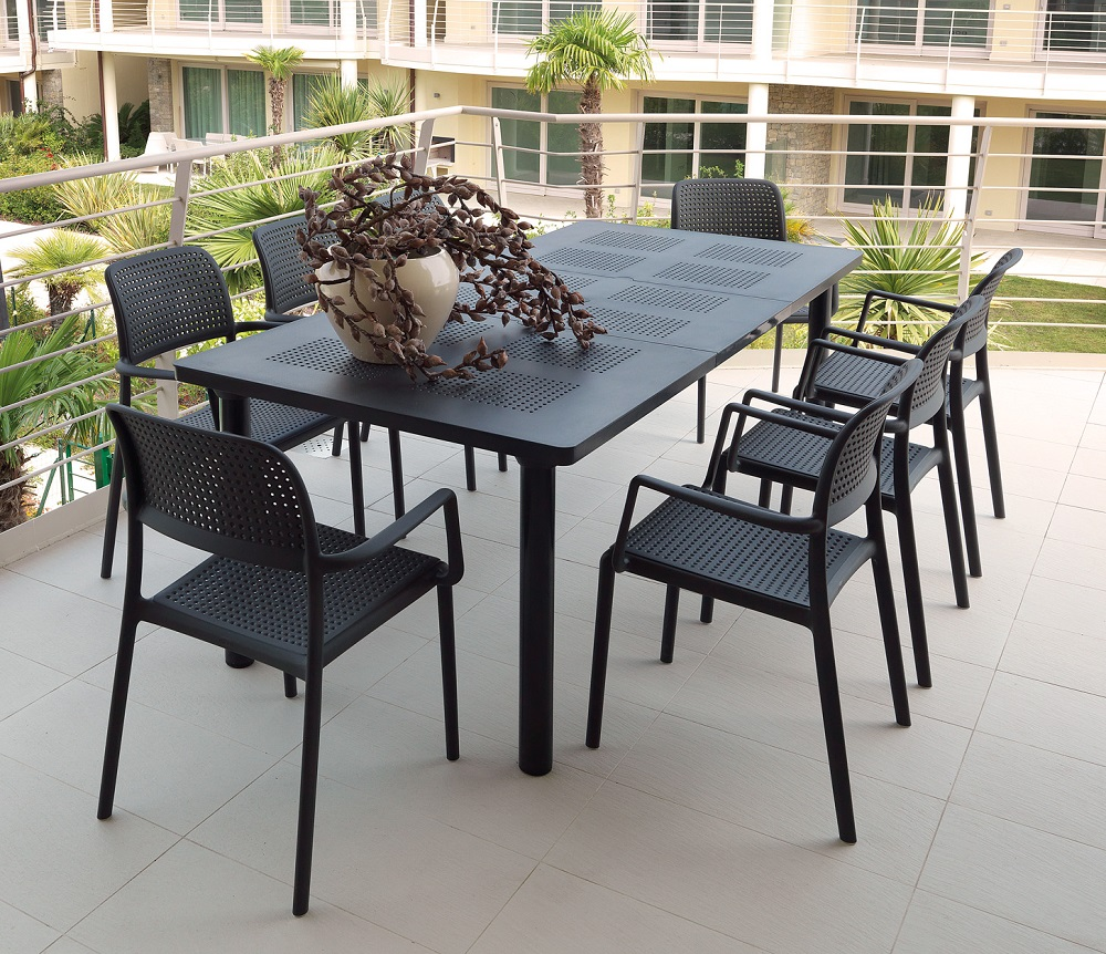 Levante 9 Piece Extended (7 Piece with Two Extra Chairs) for 8 Chairs in Charcoal on Apartment Deck