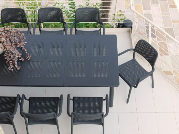 Levante Table in Charcoal, Extended to fit 8 chairs around