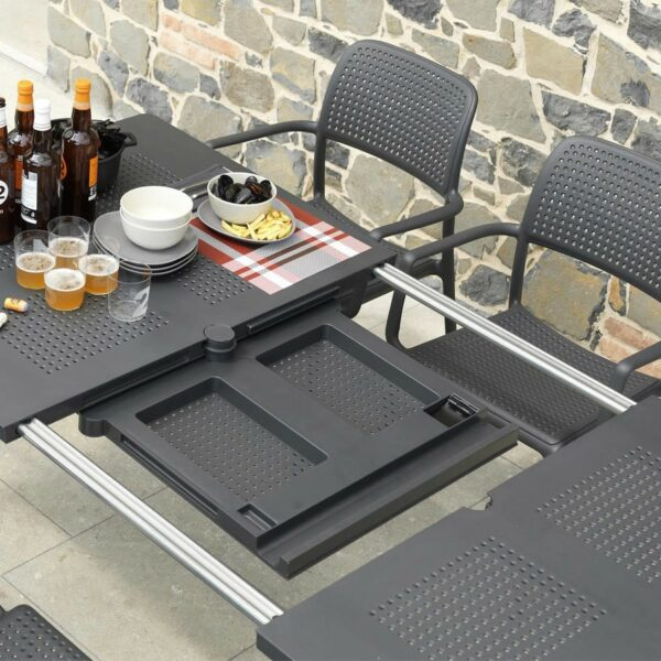 Extendable Mechanism on the Levante Table in Charcoal