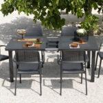 outdoor furniture Levante 7 Piece Dining Set extendable nz charcoal colour