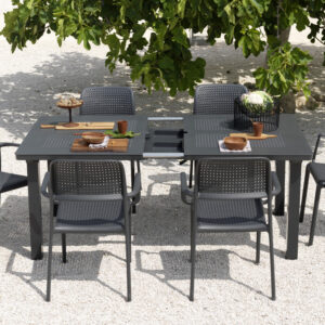 Levante 7 Piece Dining Set in Charcoal - Mechanism Extending out
