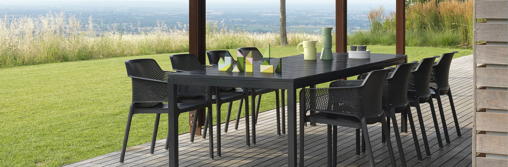 Outdoor Furniture NZ - Rio Table & Net Chair Setting (Charcoal)