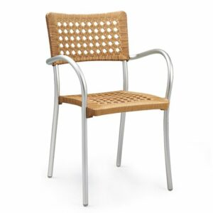 Artica Rattan Dining Chair - Staw Colour & Silver Legs