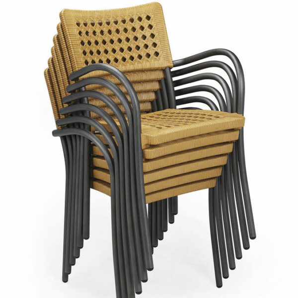 Artica Rattan Dining Chairs Stacked – Straw & Charcoal Legs