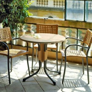 Artica Rattan Dining Chairs Straw Colour & Silver Legs in Balcony Setting