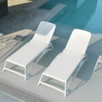 Atlantico Sun Loungers & Pop Side Table (White)