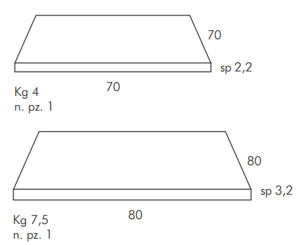 Durel Table Top Sizes