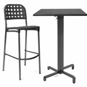 Ibisco Folding Bar Leaner Base & Durel Table Top - Charcoal