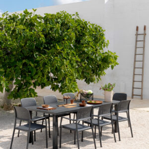 Levante Dining Setting - Levante 160-220 Extendable & Bora Chairs (Charcoal)