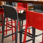 Lido Tall Outdoor Bar Stool – Charcoal & Red (Back View Displaying Perforated Seat & Back)
