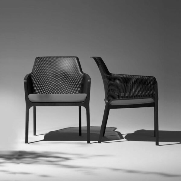 NARDI Net Relax Chairs in Charcoal with Grey Cushions
