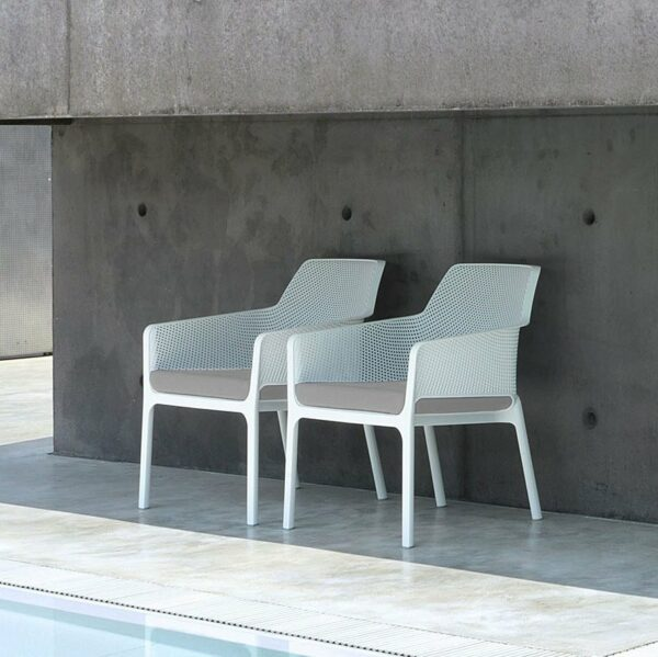 Two NARDI Net Relax Lounge Chairs in White and Grey Cushions poolside