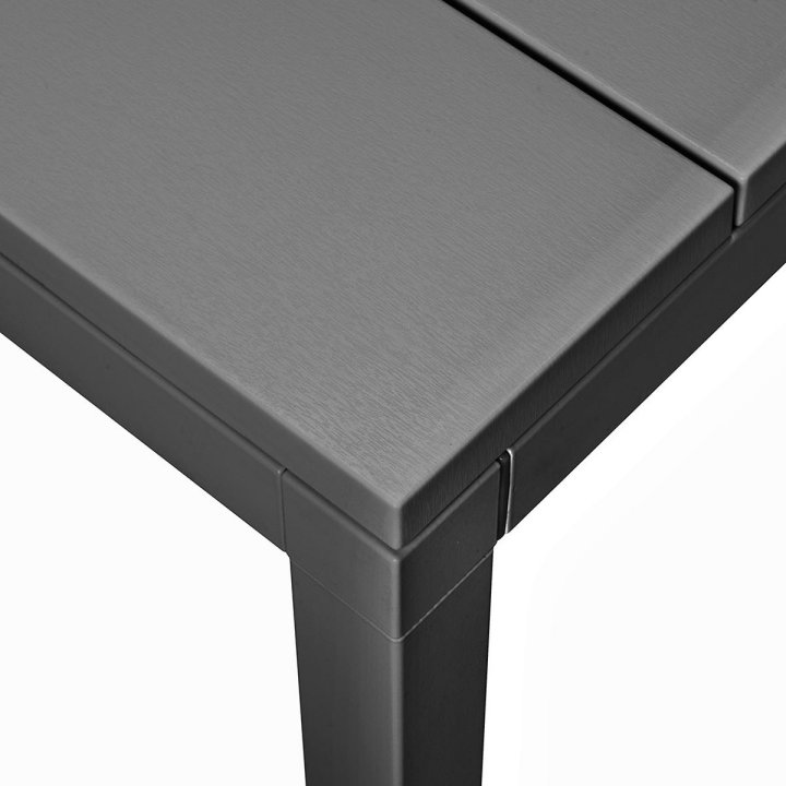 Rio 210-280 Extendable Table in Charcoal (Close up on Table Corner & Table Top Texture)