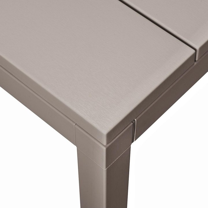 Rio 210-280 Extendable Table in Taupe (Close up on Table Corner & Table Top Texture)