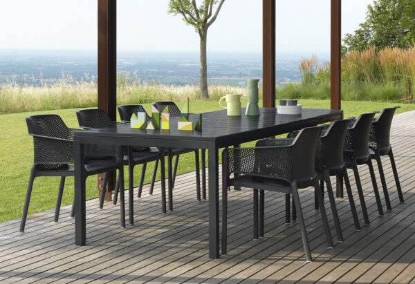 Rio 210-280cm Extendable Outdoor Dining Setting (Charcoal) - Rio Table & Net Chairs