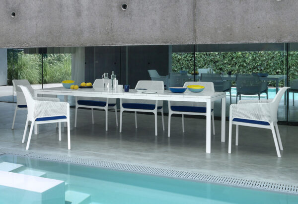 Rio 210-280cm Extendable Outdoor Dining Setting (White) - Rio Table & Net Relax Chairs