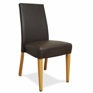 York Upholstered Dining Chair - Coffee Colour & Natural Legs (Showroom View)