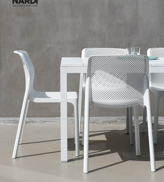 Bit Rio 9 Piece Dining Setting – White (Back of the Chair view)
