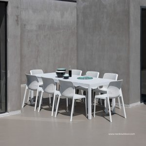 Bit Rio 9 Piece Dining Setting – White (Table fully extended in picture) 300×300