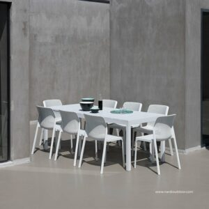 Bit Rio 9 Piece Dining Setting - White (Table fully extended in picture) 779x779