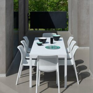 Bit Rio 9 Piece Dining Setting – White (View from end of the table)