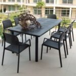 Levante 7 Piece Dining Set (Charcoal) - On Deck of Apartment Building Thumbnail