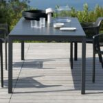 NARDI Net Chairs and Rio Table Set – Charcoal on Deck next to Pool