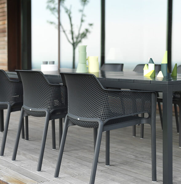 Net Rio 9 Piece Dining Setting – Charcoal (Close up on Chair Back)
