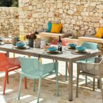 Net Rio 9-Piece Dining Setting – Taupe & Multicoloured Chairs (Gallery) (2)