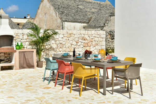 NARDI Net Rio 9-Piece Dining Setting - Taupe & Multicoloured Chairs (Gallery) (3)