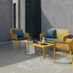 Net 4 Piece Outdoor Patio Setting – Mustard with Blue Cushions
