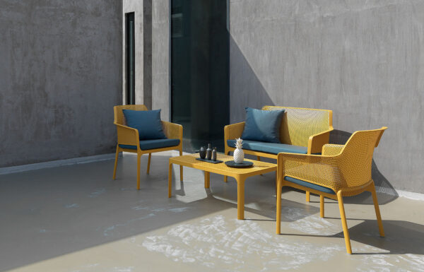 Net 4 Piece Outdoor Patio Setting - Mustard with Blue Cushions