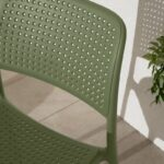 Bora Bistro Chair in Olive Green – Perforations on Chair Back & Seat