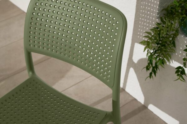 NARDI Bora Bistro Chair in Olive Green - Perforations on Chair Back & Seat