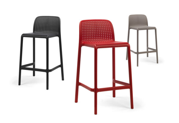 Lido Breakfast Bar Stools - Red, Charcoal & Taupe