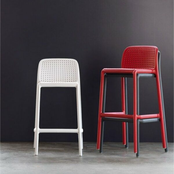 NARDI Lido Outdoor Counter Height Stool side by side with Lido Tall Outdoor Bar Stool