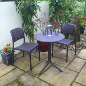 Step Bistro 3 Piece Balcony Setting - Charcoal (Pictured in Patio Setting)