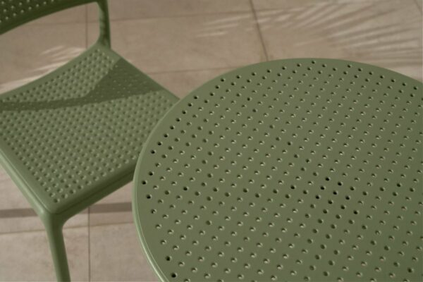 NARDI Step Bistro 3-Piece Balcony Setting in Olive Green - Perforation Pattern of Table Top & Chair