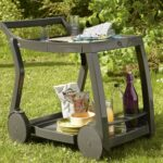 Galileo Bar & Drinks Trolley – Charcoal in Garden