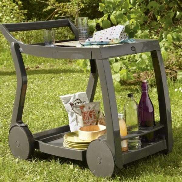 NARDI Galileo Bar & Drinks Trolley - Charcoal in Garden