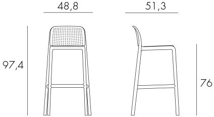 Lido Bar Stool (Commercial Height) Dimensions