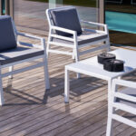 Aria 5 Piece Balcony Setting – White & Grey Cushions