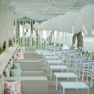 Aria 5 Piece Balcony Setting – White & Grey Cushions Beachfront Setting Long View