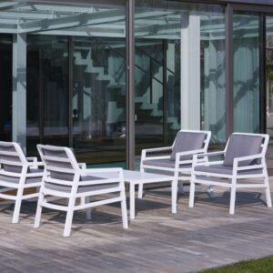 Aria 5 Piece Balcony Setting - White & Grey Cushions